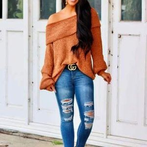 Giselle Terra-cotta Off Shoulder slouchy sweater